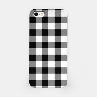 Miniatur Large Size Black and White Western Cowboy Buffalo Check Gingham iPhone Case, Live Heroes