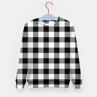 Thumbnail image of Large Size Black and White Western Cowboy Buffalo Check Gingham Kid's sweater, Live Heroes