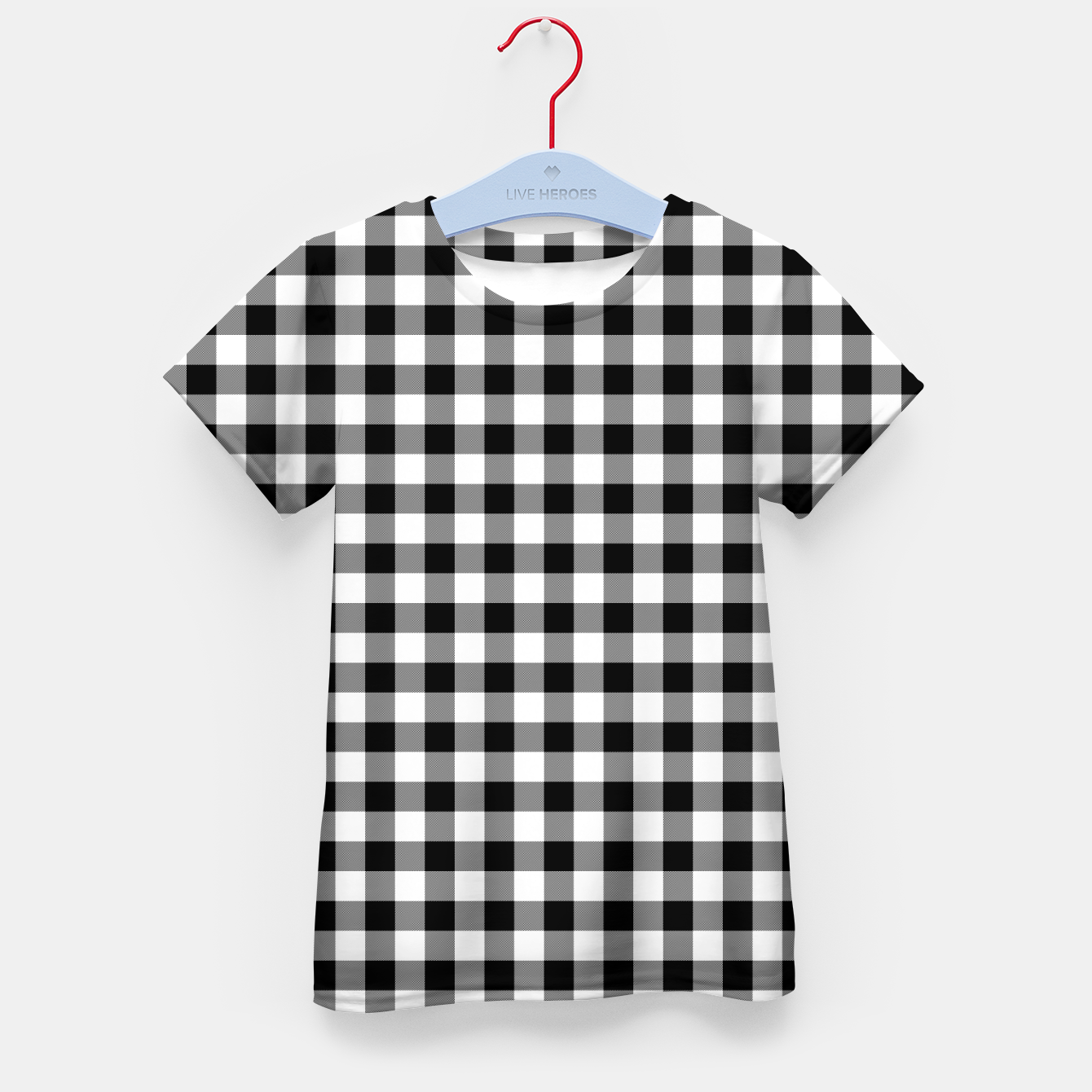 Imagen de Classic Black and White Western Cowboy Buffalo Check Gingham Kid's t-shirt - Live Heroes