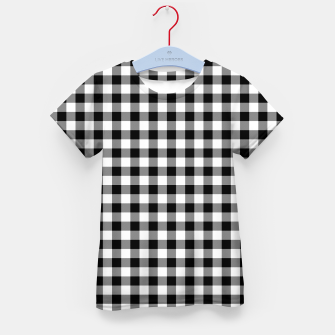 Thumbnail image of Classic Black and White Western Cowboy Buffalo Check Gingham Kid's t-shirt, Live Heroes
