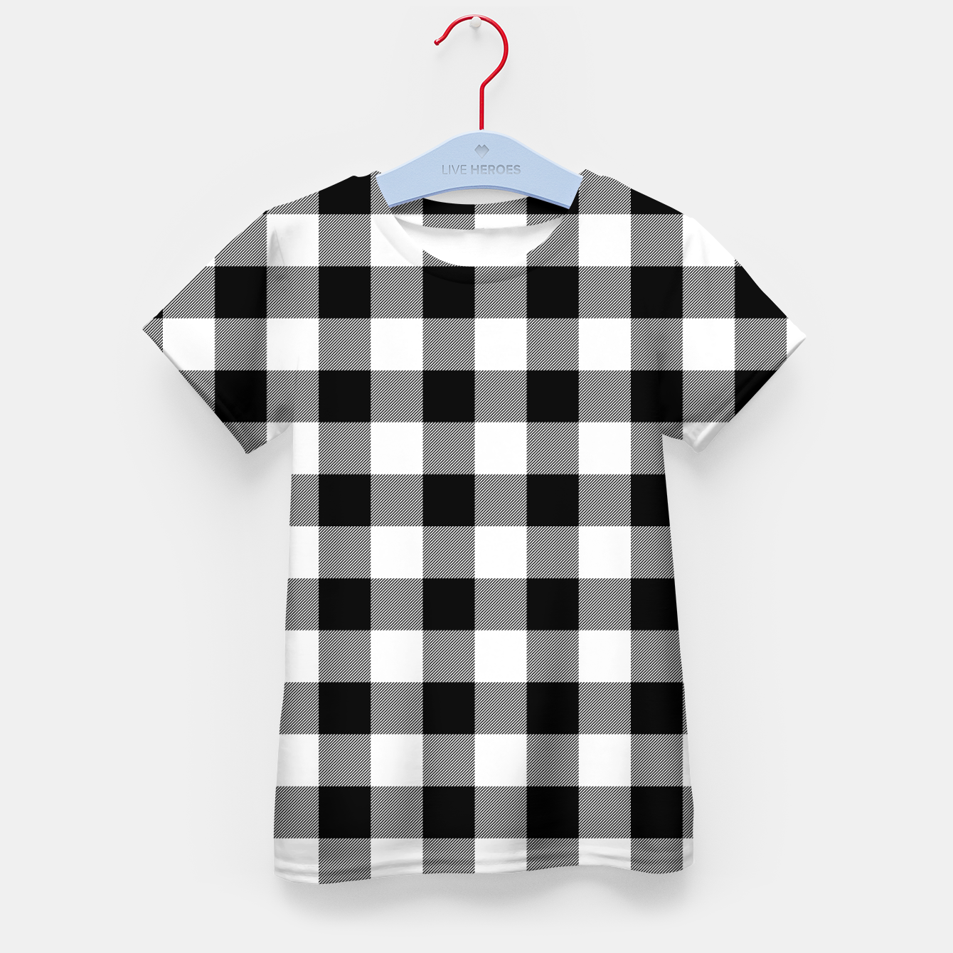 Imagen de Large Size Black and White Western Cowboy Buffalo Check Gingham Kid's t-shirt - Live Heroes