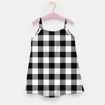 Thumbnail image of Large Size Black and White Western Cowboy Buffalo Check Gingham Girl's dress, Live Heroes