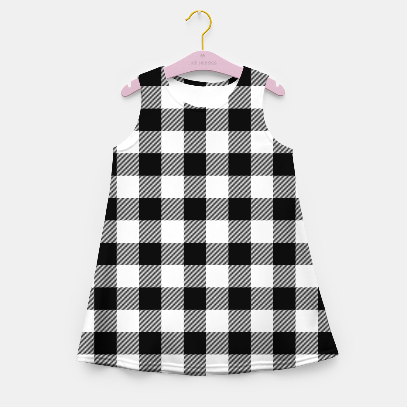 Imagen de Large Size Black and White Western Cowboy Buffalo Check Gingham Girl's summer dress - Live Heroes