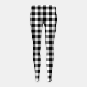 Thumbnail image of Classic Black and White Western Cowboy Buffalo Check Gingham Girl's leggings, Live Heroes