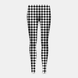 Mini Black and White Western Cowboy Buffalo Check Gingham Girl's leggings imagen en miniatura