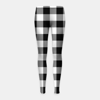 Thumbnail image of Large Size Black and White Western Cowboy Buffalo Check Gingham Girl's leggings, Live Heroes