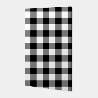 Thumbnail image of Large Size Black and White Western Cowboy Buffalo Check Gingham Canvas, Live Heroes