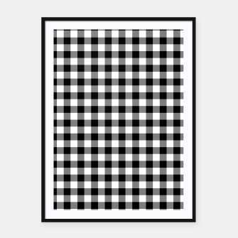Thumbnail image of Classic Black and White Western Cowboy Buffalo Check Gingham Framed poster, Live Heroes