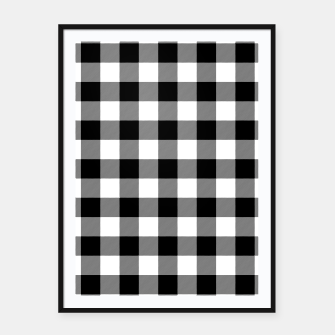 Thumbnail image of Large Size Black and White Western Cowboy Buffalo Check Gingham Framed poster, Live Heroes