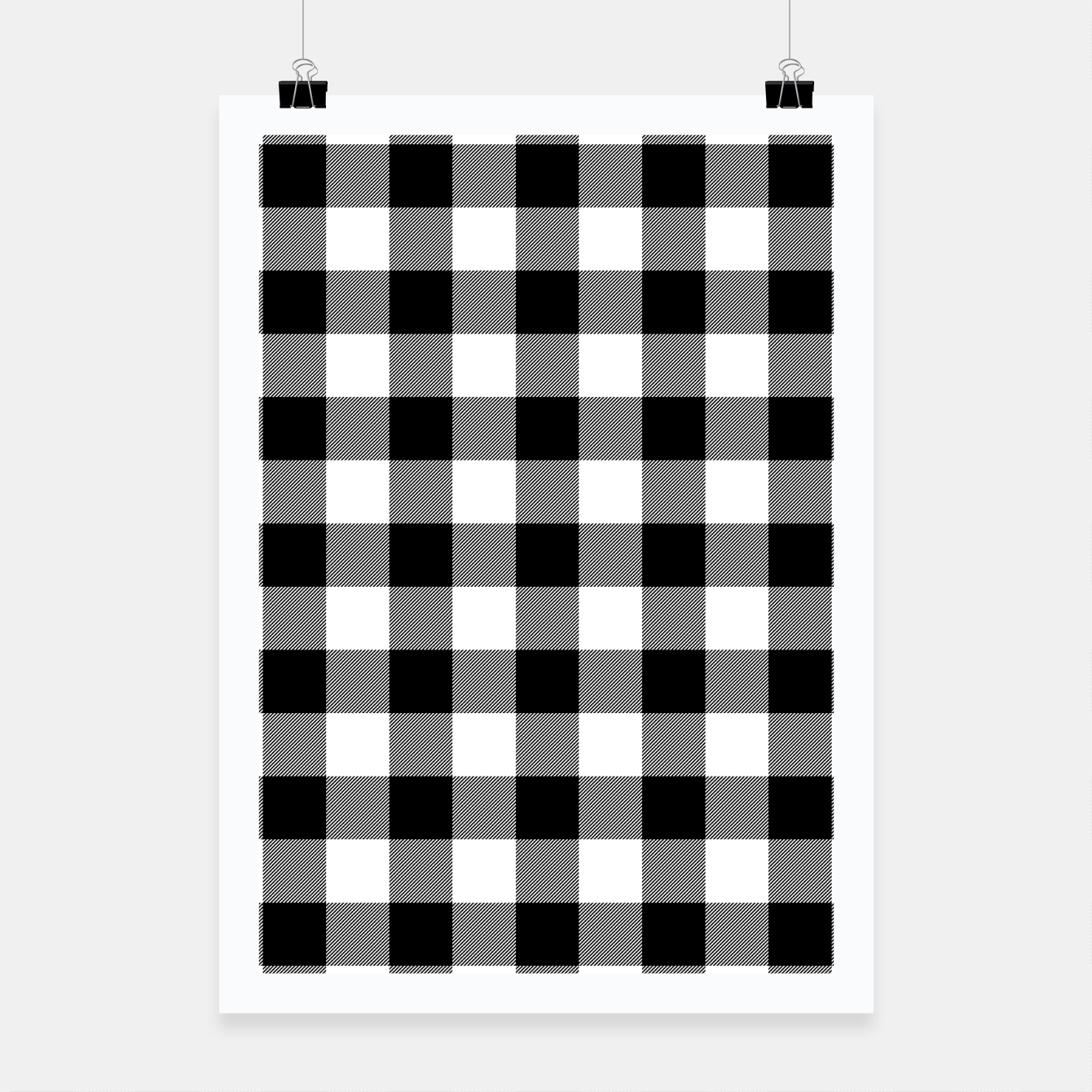 Imagen de Large Size Black and White Western Cowboy Buffalo Check Gingham Poster - Live Heroes