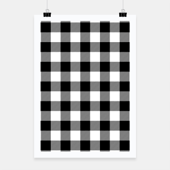 Miniatur Large Size Black and White Western Cowboy Buffalo Check Gingham Poster, Live Heroes