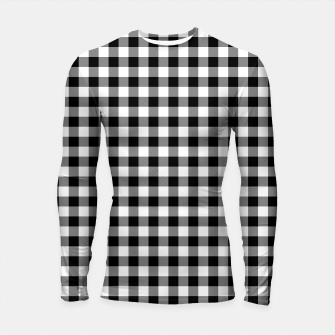 Thumbnail image of Classic Black and White Western Cowboy Buffalo Check Gingham Longsleeve rashguard , Live Heroes