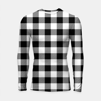 Thumbnail image of Large Size Black and White Western Cowboy Buffalo Check Gingham Longsleeve rashguard , Live Heroes