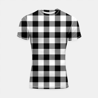 Thumbnail image of Large Size Black and White Western Cowboy Buffalo Check Gingham Shortsleeve rashguard, Live Heroes