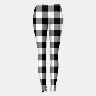 Thumbnail image of Large Size Black and White Western Cowboy Buffalo Check Gingham Leggings, Live Heroes