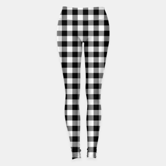 Thumbnail image of Classic Black and White Western Cowboy Buffalo Check Gingham Leggings, Live Heroes