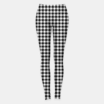 Thumbnail image of Mini Black and White Western Cowboy Buffalo Check Gingham Leggings, Live Heroes