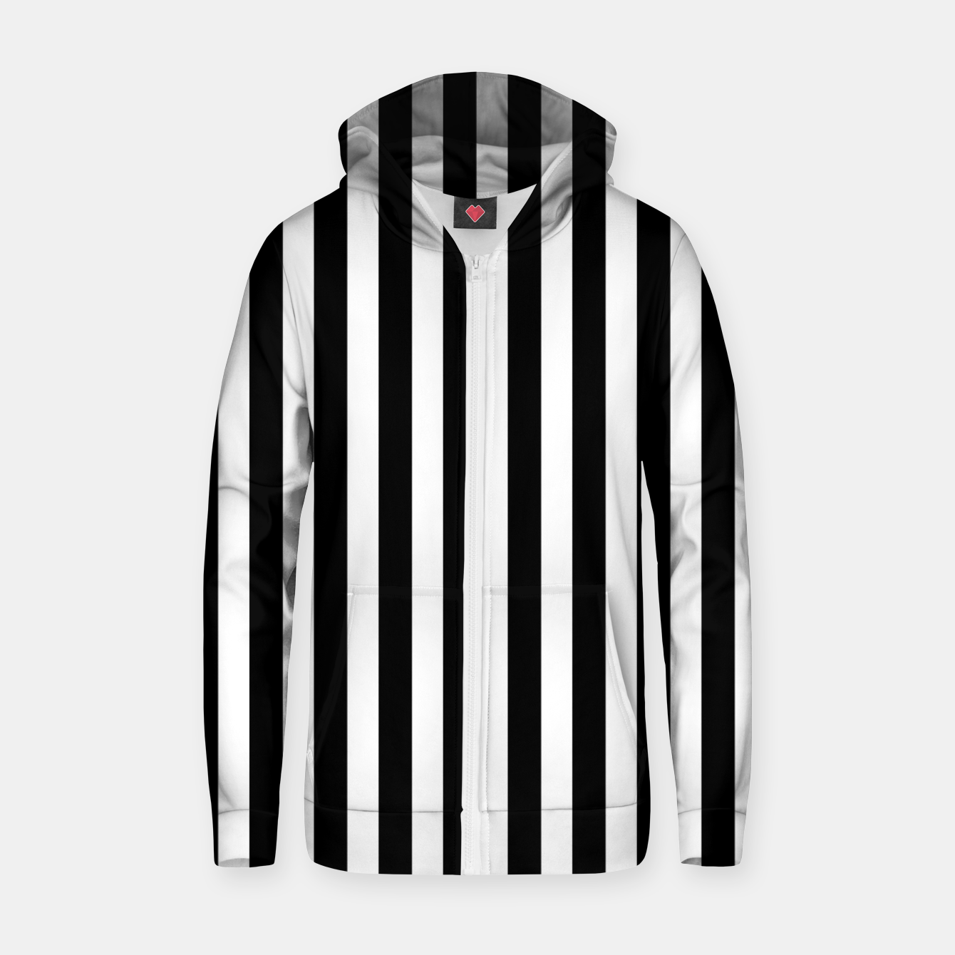 Imagen de Classic Black and White Football Referee Stripes  Zip up hoodie - Live Heroes