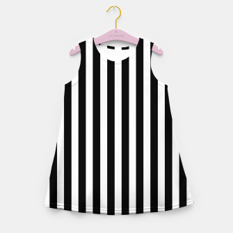 Thumbnail image of Classic Black and White Football Referee Stripes  Girl's summer dress, Live Heroes