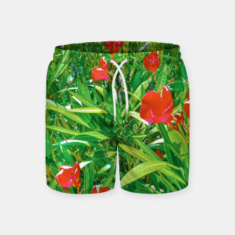 Miniatur Flowers and Green Plants at Outdoor Garden Swim Shorts, Live Heroes
