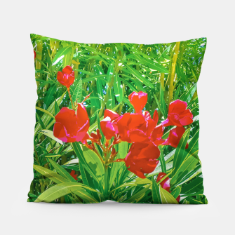 Miniatur Flowers and Green Plants at Outdoor Garden Pillow, Live Heroes