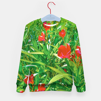 Miniatur Flowers and Green Plants at Outdoor Garden Kid's sweater, Live Heroes