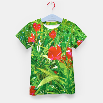 Miniatur Flowers and Green Plants at Outdoor Garden Kid's t-shirt, Live Heroes