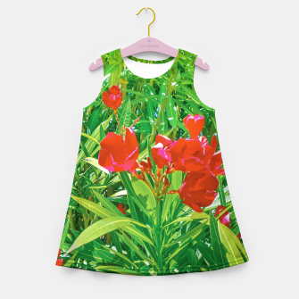 Miniatur Flowers and Green Plants at Outdoor Garden Girl's summer dress, Live Heroes