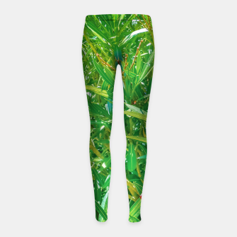 Miniatur Flowers and Green Plants at Outdoor Garden Girl's leggings, Live Heroes