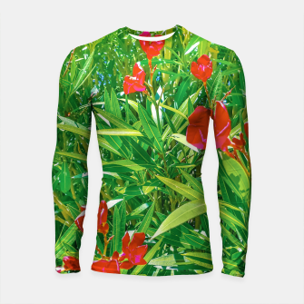 Miniatur Flowers and Green Plants at Outdoor Garden Longsleeve rashguard , Live Heroes