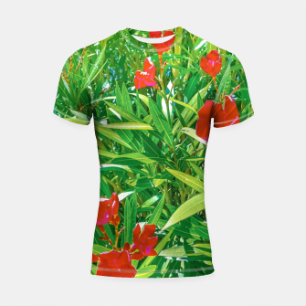 Miniatur Flowers and Green Plants at Outdoor Garden Shortsleeve rashguard, Live Heroes