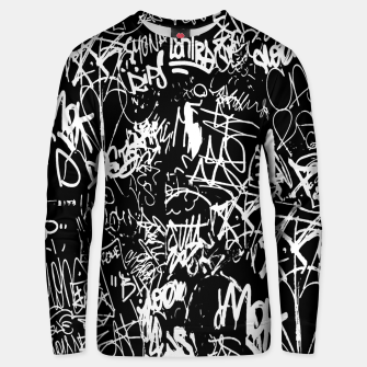 Miniaturka Black and White Graffiti Abstract Collage Print Pattern Unisex sweater, Live Heroes