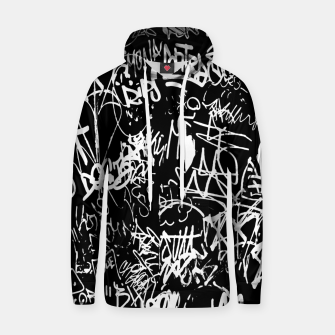 Miniaturka Black and White Graffiti Abstract Collage Print Pattern Hoodie, Live Heroes