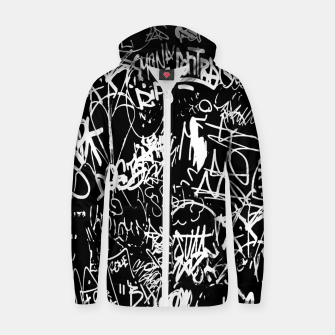 Miniaturka Black and White Graffiti Abstract Collage Print Pattern Zip up hoodie, Live Heroes