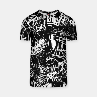 Miniaturka Black and White Graffiti Abstract Collage Print Pattern T-shirt, Live Heroes