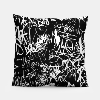 Miniaturka Black and White Graffiti Abstract Collage Print Pattern Pillow, Live Heroes
