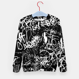 Miniaturka Black and White Graffiti Abstract Collage Print Pattern Kid's sweater, Live Heroes