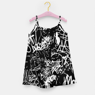 Miniaturka Black and White Graffiti Abstract Collage Print Pattern Girl's dress, Live Heroes