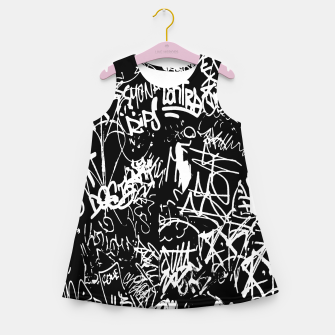 Miniaturka Black and White Graffiti Abstract Collage Print Pattern Girl's summer dress, Live Heroes