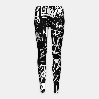Miniaturka Black and White Graffiti Abstract Collage Print Pattern Girl's leggings, Live Heroes