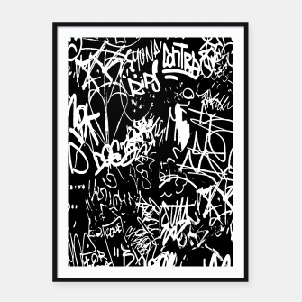 Miniaturka Black and White Graffiti Abstract Collage Print Pattern Framed poster, Live Heroes