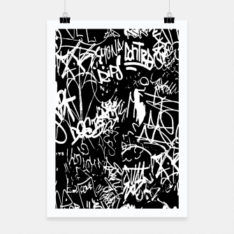 Miniaturka Black and White Graffiti Abstract Collage Print Pattern Poster, Live Heroes