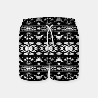 Miniatur Black and White Modern Ornate Stripes Design Swim Shorts, Live Heroes