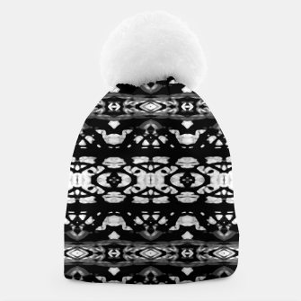 Miniatur Black and White Modern Ornate Stripes Design Beanie, Live Heroes
