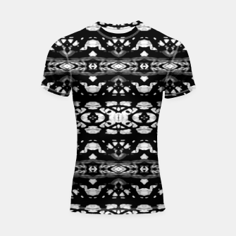 Miniatur Black and White Modern Ornate Stripes Design Shortsleeve rashguard, Live Heroes