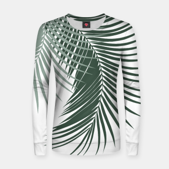Thumbnail image of Palm Leaves Soft & Dark Green Vibes #1 #tropical #decor #art  Frauen sweatshirt, Live Heroes