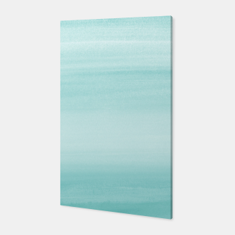 Touching Aqua Blue Watercolor Abstract #2 #painting #decor #art Canvas thumbnail image