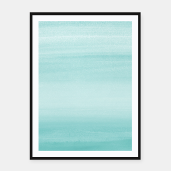 Touching Aqua Blue Watercolor Abstract #2 #painting #decor #art Plakat mit rahmen thumbnail image