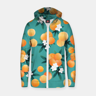 Thumbnail image of Orange Twist Flower Vibes #8 #tropical #fruit #decor #art Reißverschluss kapuzenpullover, Live Heroes