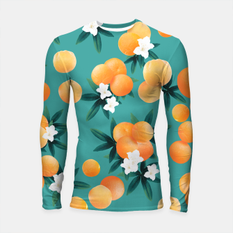 Thumbnail image of Orange Twist Flower Vibes #8 #tropical #fruit #decor #art Longsleeve rashguard, Live Heroes